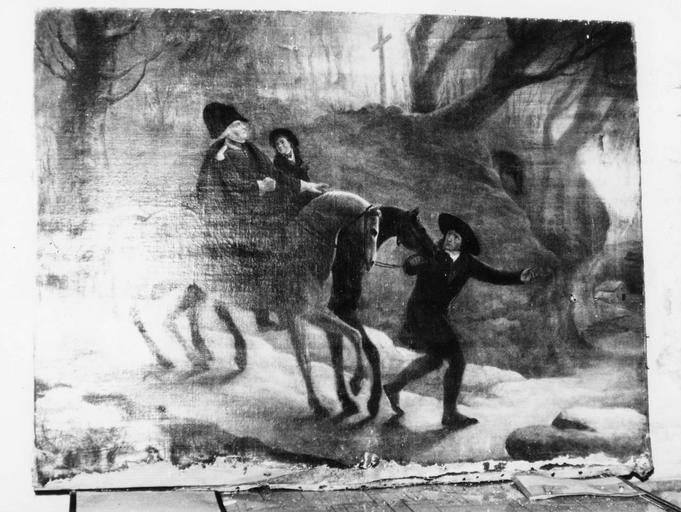 Tableau, ex-voto : l' aventure de Jean François de Régis Alexis de Prat et de son fils, d' un événement intervenu en févier 1789