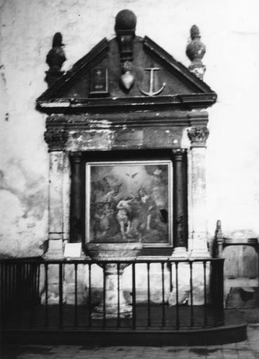 Retable des fonts baptismaux, tableau : le Baptême du Christ