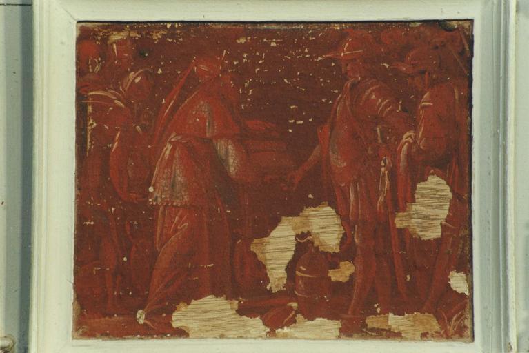 Paneau peint : Scène biblique, huile sur bois