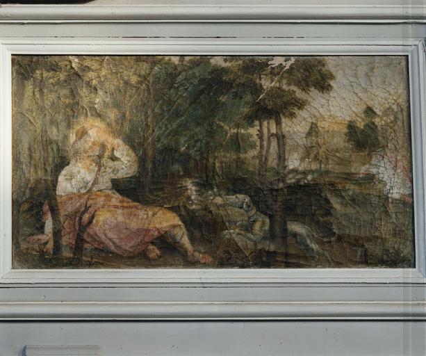 Détail du retable, prédelle : Saint Roch dans la forêt réconforté par un ange,