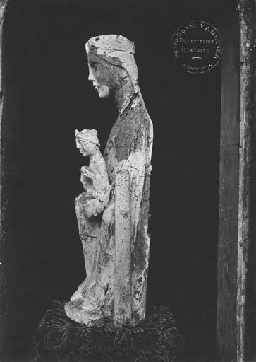 Statue (statuette) : Vierge à l'Enfant, bois, vue de côté