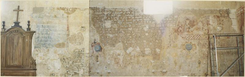 peintures monumentales : l'Entrée du Christ à Jérusalem, les Apôtres, la Mise au tombeau, l'Apparition à Madeleine, la Descente aux Limbes, le Pèsement des âmes, l'Archange saint Michel, vue générale