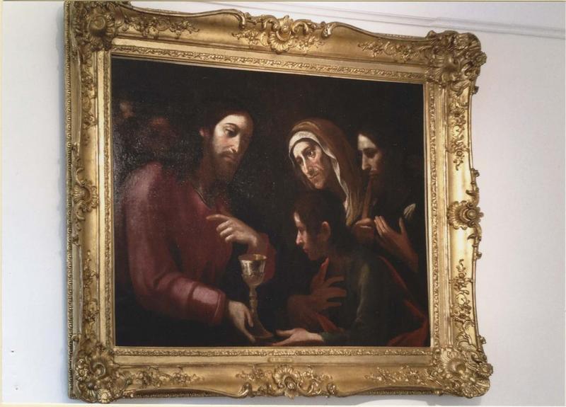 Tableau et son cadre : Le Christ rencontrant la femme de Zébédée et ses fils