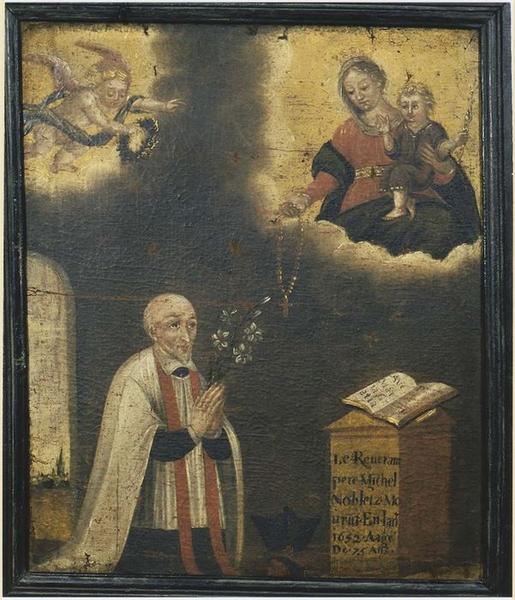 tableau et son cadre (ex-voto n° 1) : Apparition de la Vierge à Michel Le Nobletz, vue générale