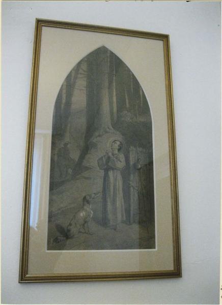 Esquisse et son cadre : Saint Roch nourri miraculeusement par le chien du seigneur Gothard