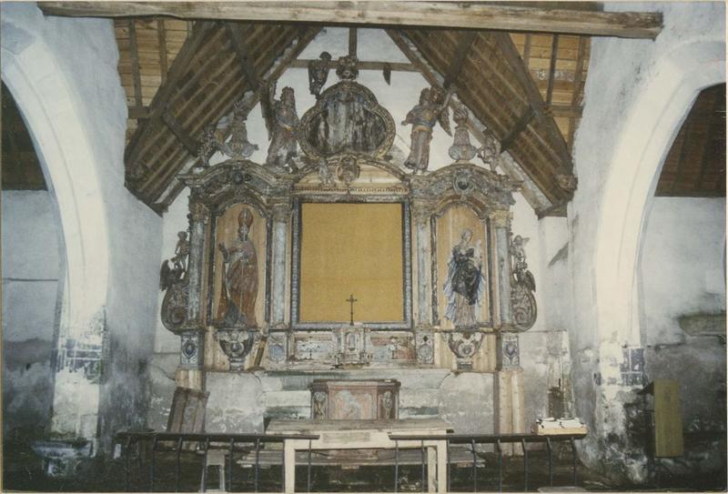 retable du maître-autel, 2 statues : Saint Cadion, Vierge à l'enfant, vue générale