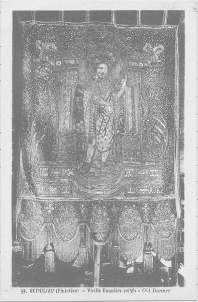 Tableau de broderie (bannière) : La Crucifixion, Saint Miliau