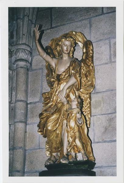Groupe sculpté : Saint Raphaël et Tobie