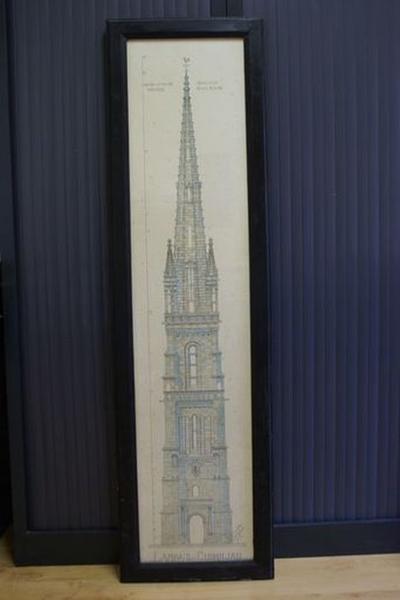 Plan aquarellé : Clocher de l'église de Lampaul-Guimiliau