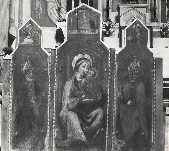 tableau (tableau d'autel) : Vierge à l'Enfant à la cerise, saint Marcel et saint Pierre