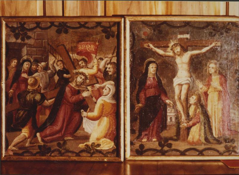 tableaux : les mystères du Rosaire, détails: Portement de croix (le), Crucifixion (la)