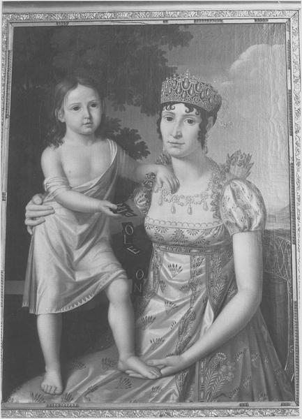tableau : Elisa Bacciochi et sa fille Napoléone, vue générale