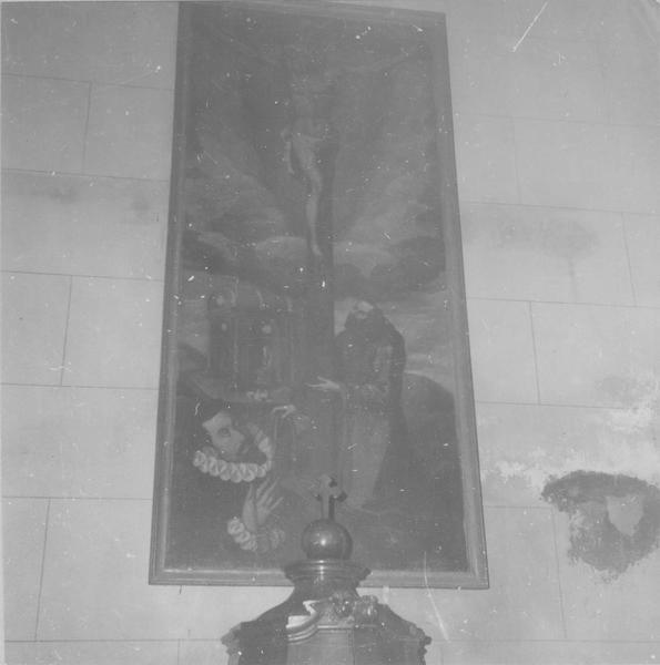 tableau : remise par saint François d'Assise de la cordelière de l'ordre franciscain à un donateur, vue générale
