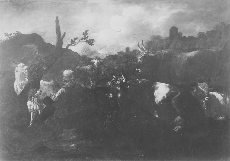 tableau : berger gardant son troupeau, vue générale