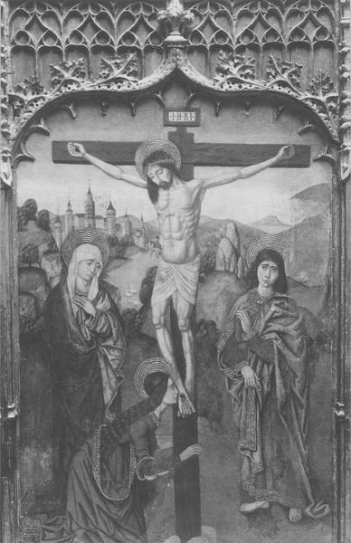 retable (triptyque) : Christ en croix entre la Vierge saint Jean et sainte Madeleine, vue générale