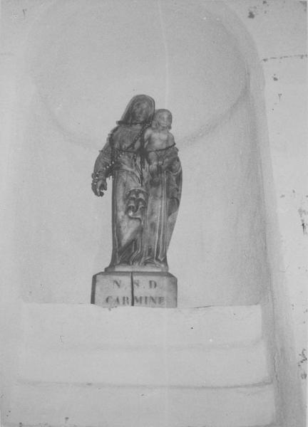 statue : Vierge à l'Enfant, dite Notre-Dame du Mont Carmel, vue générale