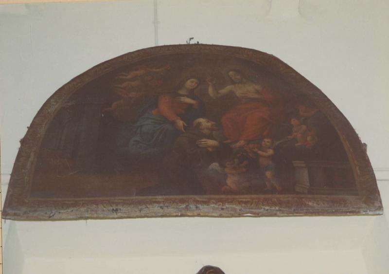 tableau, cadre : La Sainte Famille avec saint Antoine