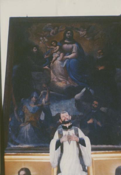 tableau : La Vierge à l'Enfant entourée de saint Antoine de Padoue, de saint Antoine ermite, de saint Michel, de saint François-Xavier