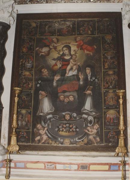 tableau : La Vierge au rosaire avec saint Dominique et sainte Catherine
