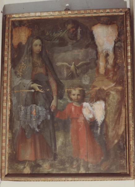 tableau, cadre : La Sainte Famille avec Dieu le Père et le Saint-Esprit