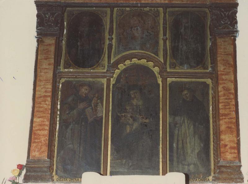 tableau : La Vierge à l'Enfant avec saint Dominique, saint Antoine de Padoue et Dieu le Père
