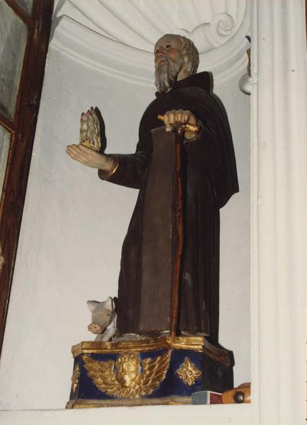 statue : Saint Antoine ermite au cochon