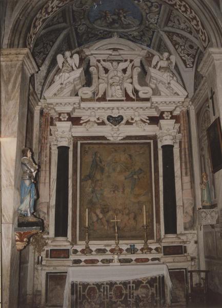 autel, retable, tableau : La Vierge intercédant pour les âmes du purgatoire avec la Trinité, saint Michel et saint Pierre