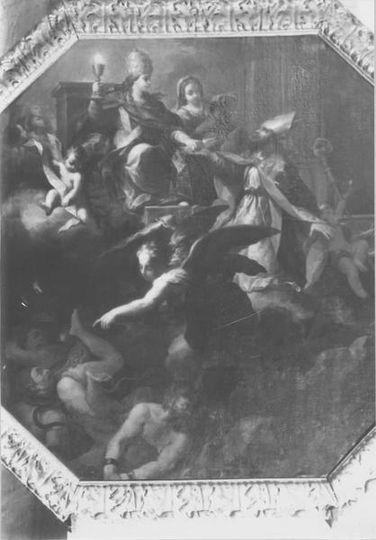 4 tableaux : un archange chassant le démon, deux scènes du martyre de sainte Ursule (?), scène de baptême