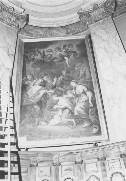 2 tableaux : Apparition du Christ et de la Vierge à un religieux, scène de baptême