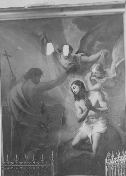 tableau : le Baptême du Christ, vue partielle