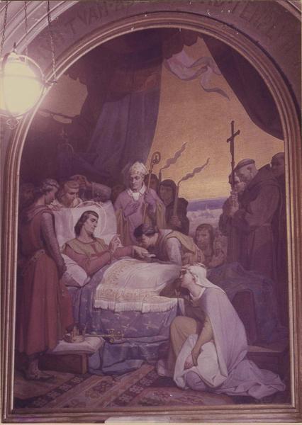 Tableau : saint Louis mourant remettant ses pouvoirs à son fils Philippe