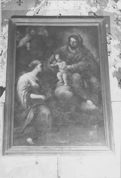 Tableau : la Vierge présentant l'Enfant Jésus à une sainte