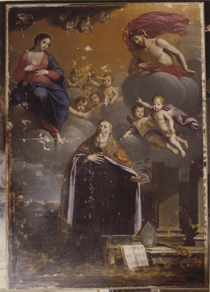 tableau : saint Augustin hésitant entre les plaies du Christ et le lait de la Vierge, vue générale