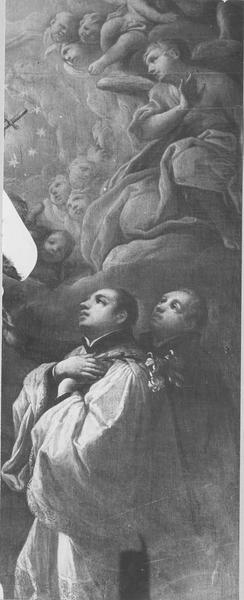 Tableau : l'adoration des Sacrés-Coeurs de Jésus et de Marie