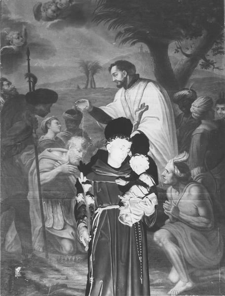 tableau : saint François Xavier baptisant, vue partielle