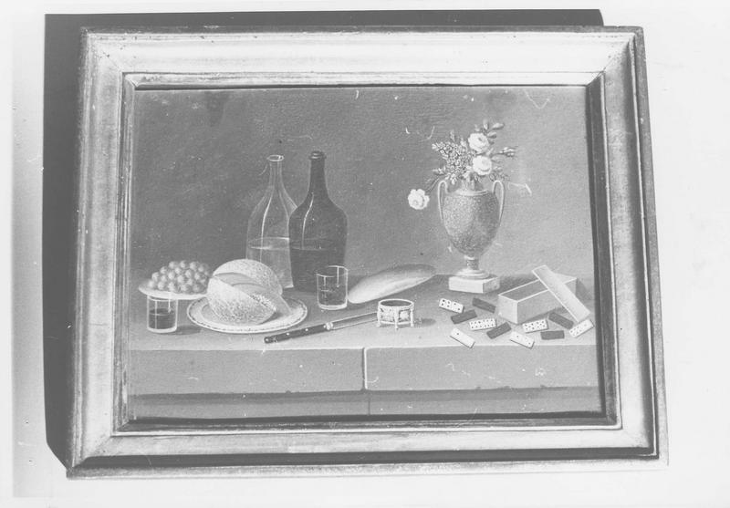 Tableau et son cadre : Nature morte au pigeon, au fusil et à la gibecière