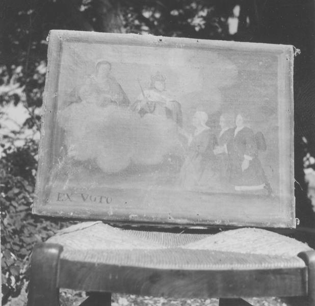 Ex-voto : la Vierge et l'Enfant et un roi apparaissant à trois personnages agenouillés