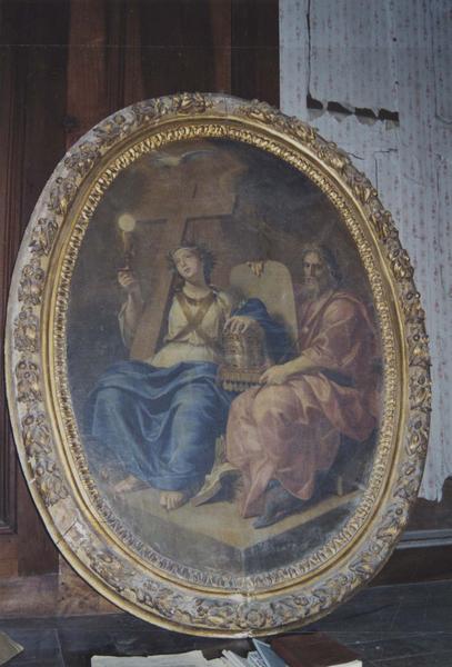 tableau : L'Allégorie de l'Eglise catholique s'appuyant sur l'Ancien Testament, cadre, vue générale