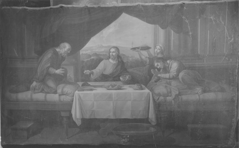 3 tableaux : la Pêche miraculeuse les Pèlerins d'Emmaüs le Christ remettant les clefs à Saint-Pierre