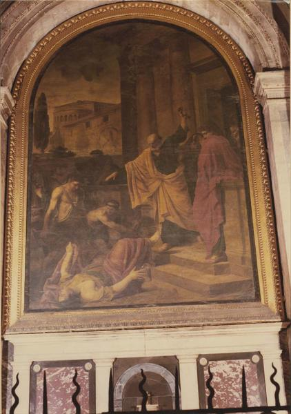 tableau : saint Pierre maudissant Ananias et Sapiza, vue générale