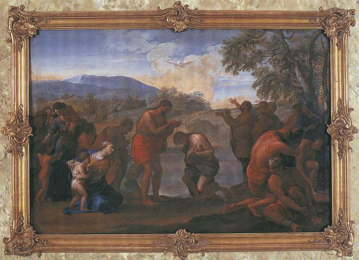 Tableau et son cadre : le Baptême du Christ, huile sur toile, cadre en bois doré, 17e siècle