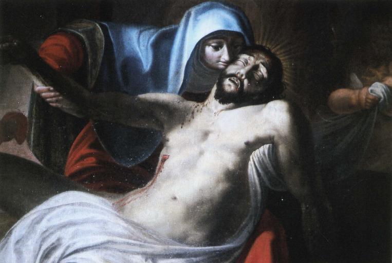 Tableau et son cadre : Vierge de Pitié, détail du Christ et de la Vierge, huile sur toile