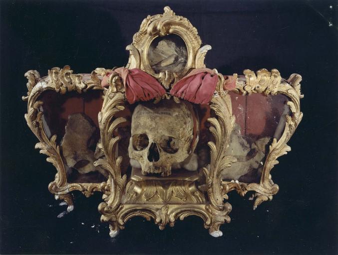 Reliquaire de Saint-Victor et de Saint-Innocent, bois sculpté et doré, 18e siècle