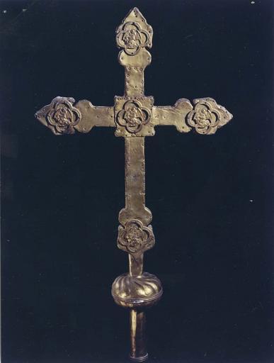 Croix de procession, revers, cuivre doré sur bois, 16e siècle