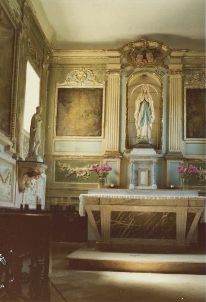 retable, lambris de revêtement, deux statues, détail