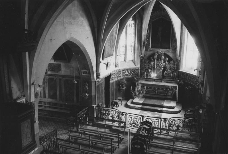 autel, tabernacle, exposition, retable, tableau : Christ en croix, cadre, clôture de choeur (maître-autel, tabernacle à ailes, tableau d'autel) style Louis XV