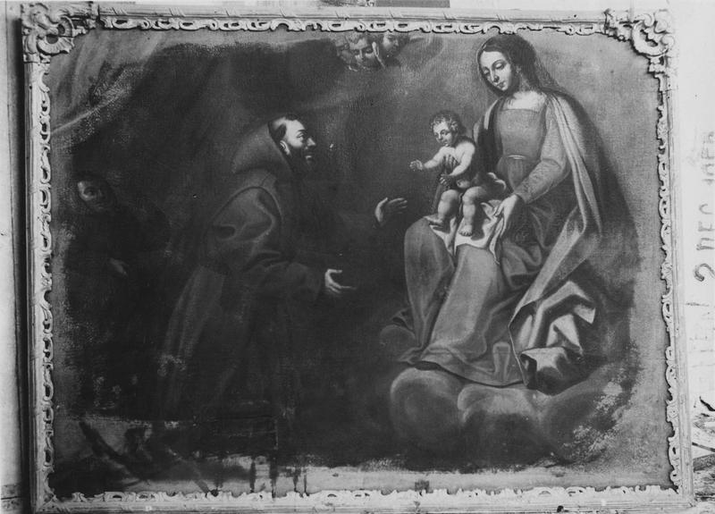 tableau : Vierge présentant l'enfant à un saint franciscain
