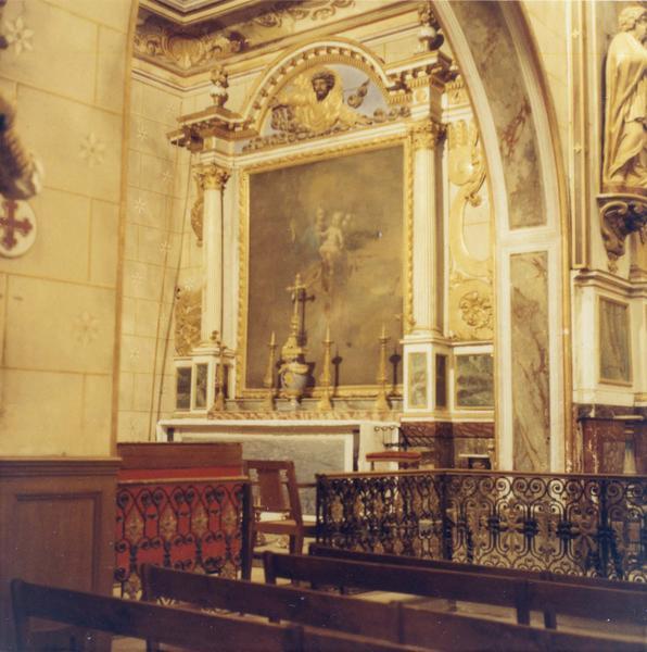 retables du maître autel : statues et lambris du choeur, vue d'ensemble