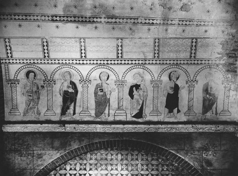 peintures monumentales, fresques de la voute, six personnages, détail