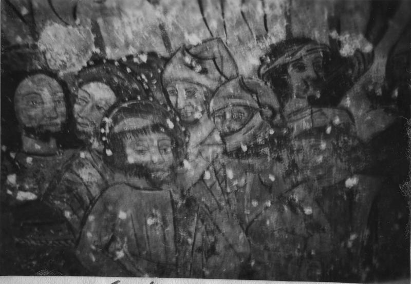 peinture monumentale : enfance du Christ, Passion, gloire du Christ, détail des six personnages